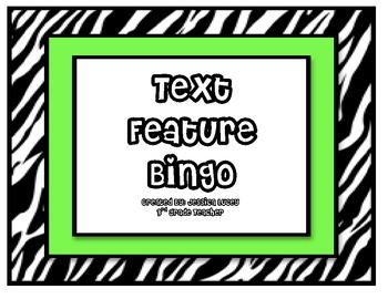 Text Features BINGO (Zebra)