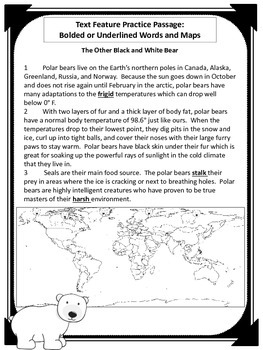 """Text Features: Bolded Words and Maps-""""The Other Black and White Bear"""" Passage"""