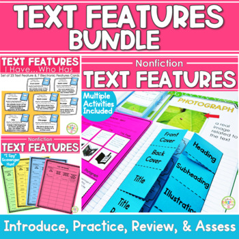 Text Features Bundle - Text Features Posters and I Have, Who Has Cards