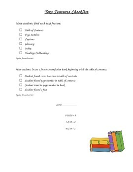 Text Features Checklist