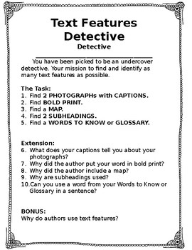 Text Features Detective