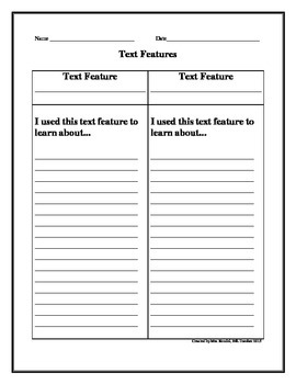 Text Features: Differentiated Graphic Organizers: Use for Ready Gen Lessons