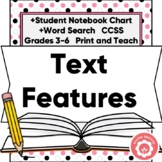 Text Features Anchor Chart, Student Chart, Word Search CCS