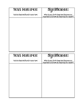 Text Features Exit Ticket and Note-Taking Guide