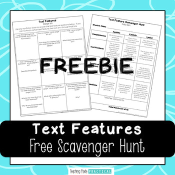 Free Text Features Scavenger Hunt