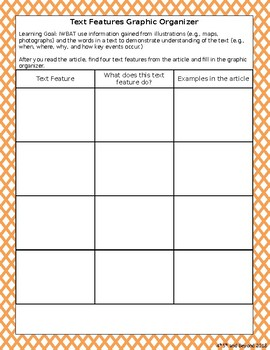 Text Features Graphic Organizer- Basic