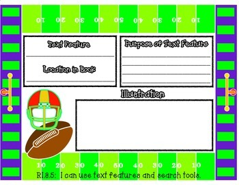 Text Features Football Themed Graphic Organizer