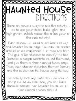 Text Features Haunted House Activity
