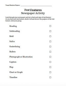 Text Features Newspaper Search Activity