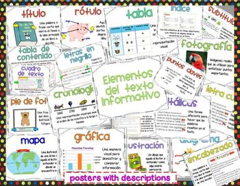 Text Features Posters (English and Spanish)
