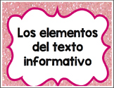 Text Features Posters and Cut and Paste Activity Spanish