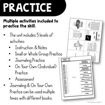 Text Features Reading Strategy Unit: Notes, Practice, & Assessment
