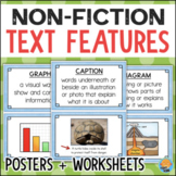 Nonfiction TEXT FEATURES Worksheets, Anchor Chart Posters, Assessment