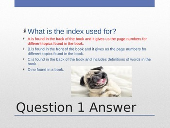 Text Features Review (Title Cover, Table of Contents, Glossary, Index, etc.),