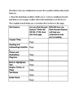 Text Features Scavenger Hunt