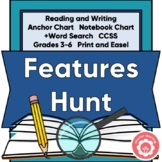 Text Features Scavenger Hunt: Anchor Chart, Notebook Chart, Word Search CCSS 3-6