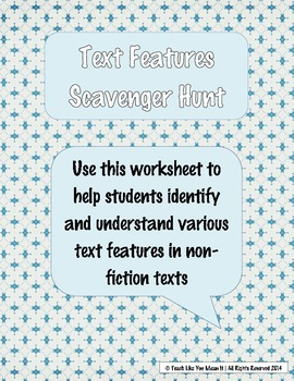 Text Features Scavenger Hunt Printable