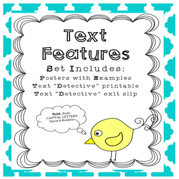 Text Features Teaching Aids, Informal Assessment and Exit Slip