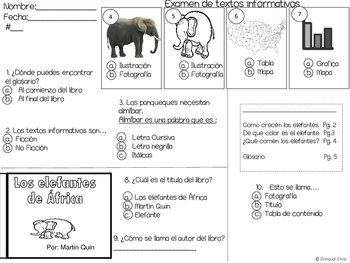 Text Features Spanish and English