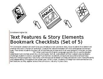 Text Features & Story Elements Editable Bookmarks~ NonFiction & Fiction