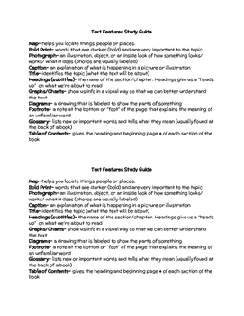 Text Features Study Guide