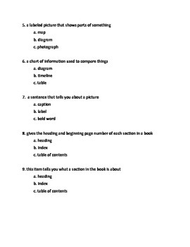 Text Features Summative Assessment with Rubric