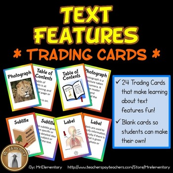 Text Features Trading Cards