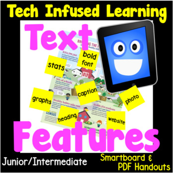 Text Features Unit, No Prep Technology Infused Learning, Smartboard & PDF