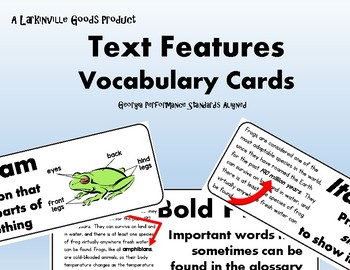 Text Features Vocabulary Cards