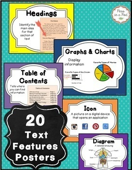 Text Features Worksheets, Posters, & Scavenger Hunts ~ Reading Comprehension