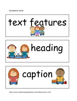 Text Features and Story Elements Vocabulary Cards- Word Wall or Game