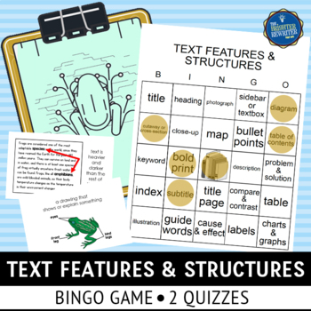 Text Features and Structures Bingo