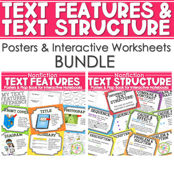 Text Features and Text Structure Posters BUNDLE - COMMON CORE ALIGNED