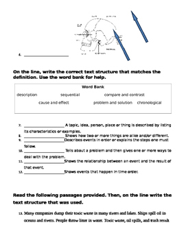 Text Features and Text Structures Assessment