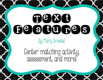 Text Features - center activity, assessment and more