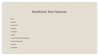 Text Features for Nonfiction/ Power point/ Scavenger hunt and more!