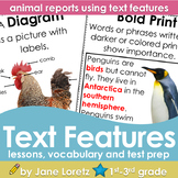 Text Features (lesson,vocabulary, test prep, animal reports using text features)