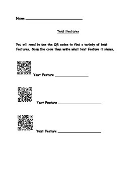Text Features with QR Codes