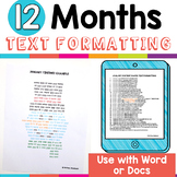 Text Formatting Activities for the 12 Months