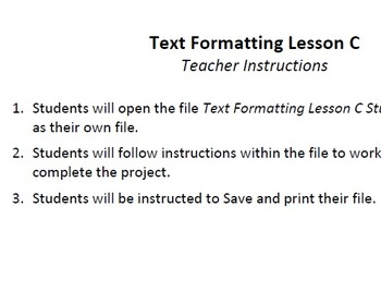 Text Formatting Lesson C Technology Lesson Plan & Materials