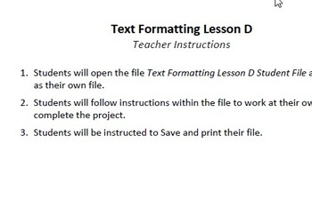 Text Formatting Lesson D Technology Lesson Plan & Materials