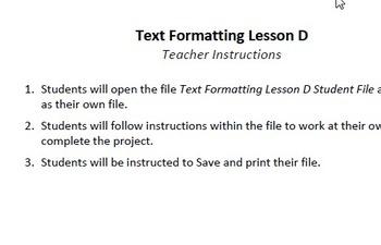 Text Formatting Lesson D Technology Lesson Plan & Materials
