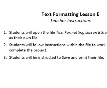 Text Formatting Lesson E Technology Lesson Plan & Materials