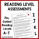 1st - 4th Grade Back to School Text Level and Reading Comprehension  Assessments
