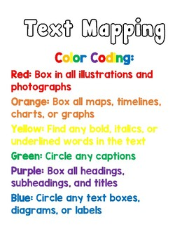 Text Mapping Color Code Chart
