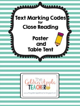 Text Marking Code Poster and Table Tent for Close Reading