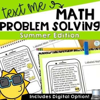 Text Me Math Word Problems Summer Themed