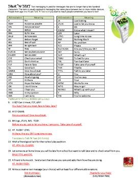 Text Message Abbreviations Worksheet
