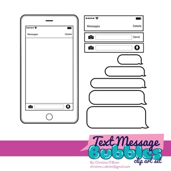 Text Message Bubbles Clip Art Set