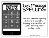 Text Message Spelling Station Activity for Grades K, 1, 2, 3 {Literacy Station}